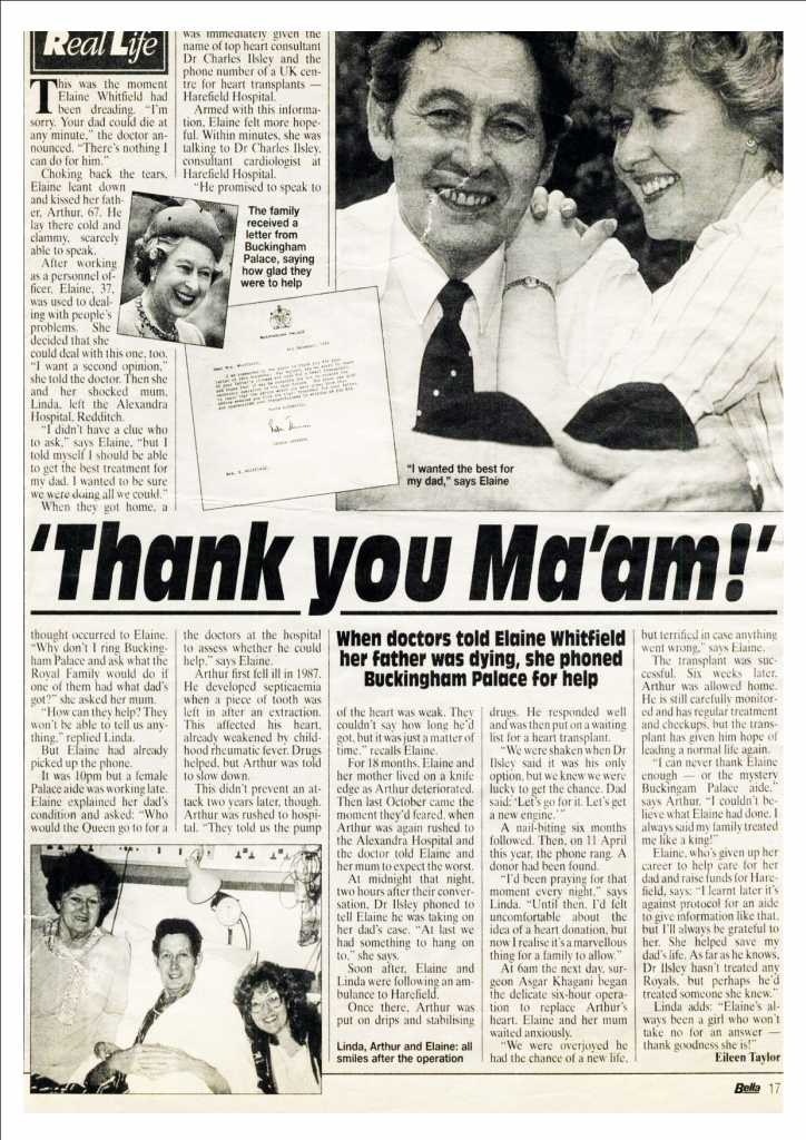 1991: Elaine Whitfield consults Buckingham Palace about Arthur's heart transplant
